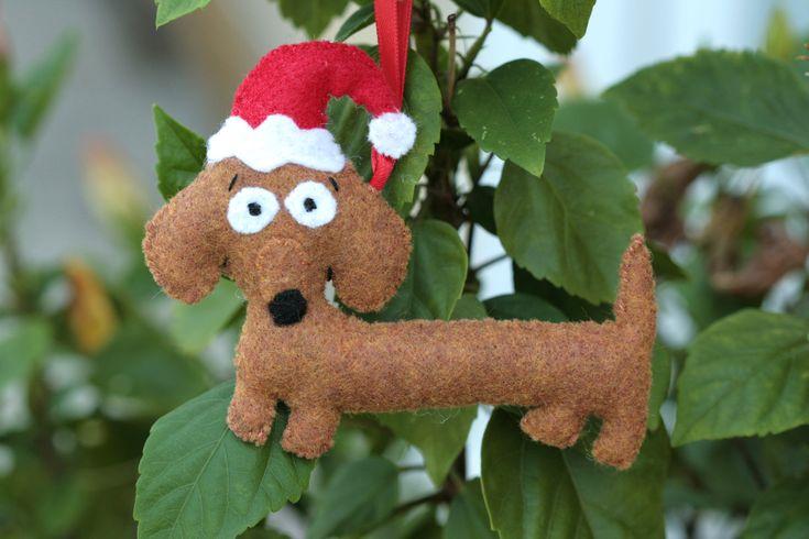 Super Cute  Dachsund Wiener Dog with Santa Hat Ornament. $18.00, via Etsy.