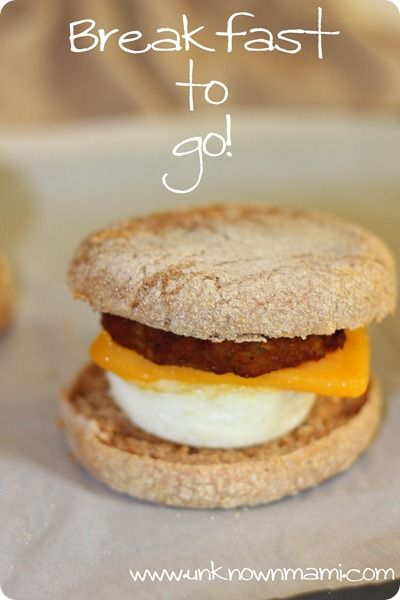 "Make your own ""fast-food"" breakfast sandwiches and keep them in the freezer for when you need a breakfast on the go.   Inspired by a pin (http://pinterest.com/pin/246994360783275211/), I made these, froze them, and think they rock!"