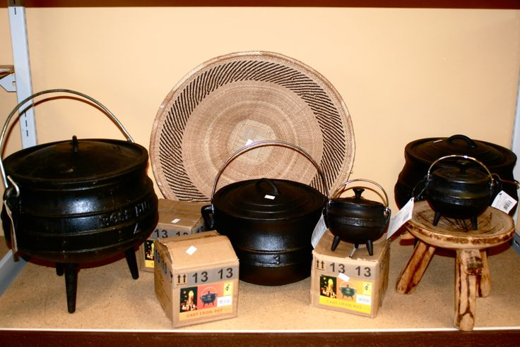 Various cast iron potjie pots! Individual potjies could be used for a dinner party to serve stew!!