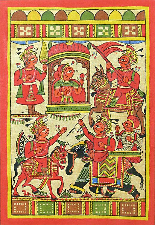 Rajasthani Phad Painting (Phad Painting on Cloth - Unframed))