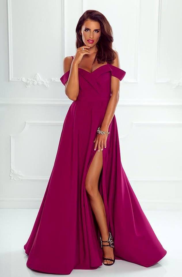 8b78e5870c Elegancka Długa Suknia Caroline Bordo w 2019