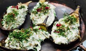 Stuffed aubergine with labneh and cucumber.