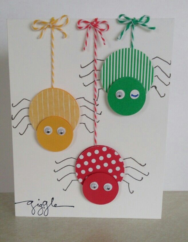 handmade card: Fun childrens card (thanks to mailebelles' idea.) ... punch art spiders using circles and britght primary colors ...