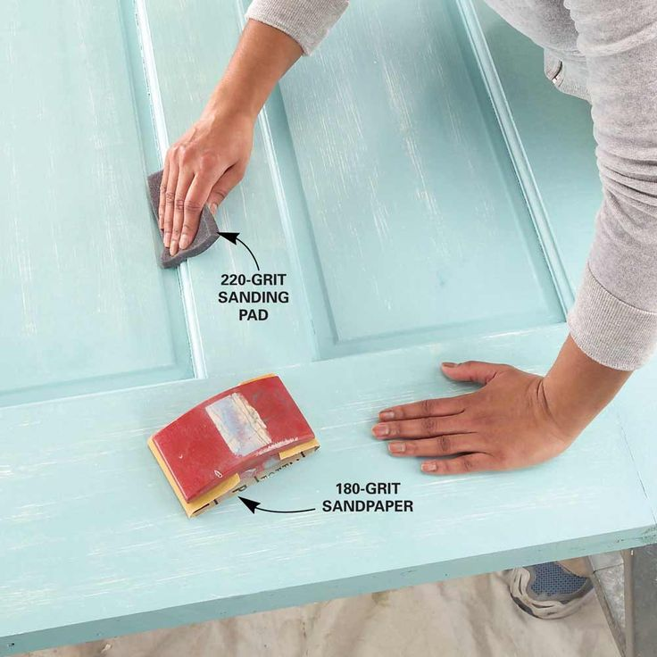 No matter how careful you are, you can usually find ridges or bubbles or a few bits of dust and lint in a fresh coat of paint or primer. For the smoothest possible topcoat, hand-sand the entire door after the primer and between coats of paint. It may seem like a lot of work, but it shouldn't take more than five minutes when the door is flat on the sawhorses. Sand with non-clogging 180- or 220-grit sandpaper or sanding sponges (look for