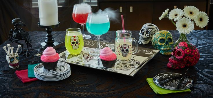 Serve some sweet treats in style with this Sugar Skull decor!