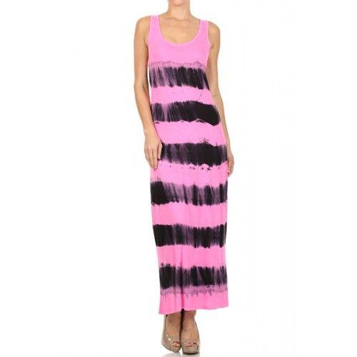 Tie dye stripe, racer back, tank maxi dress.