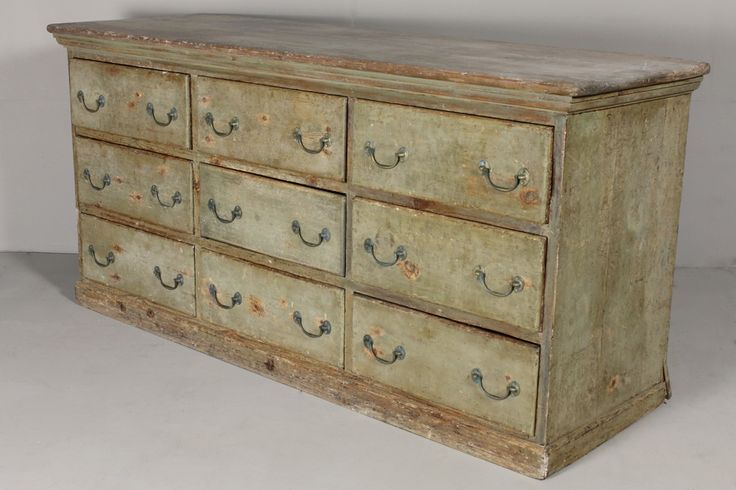 Original 19th Century Painted Pine Dresser base / Bank Drawers