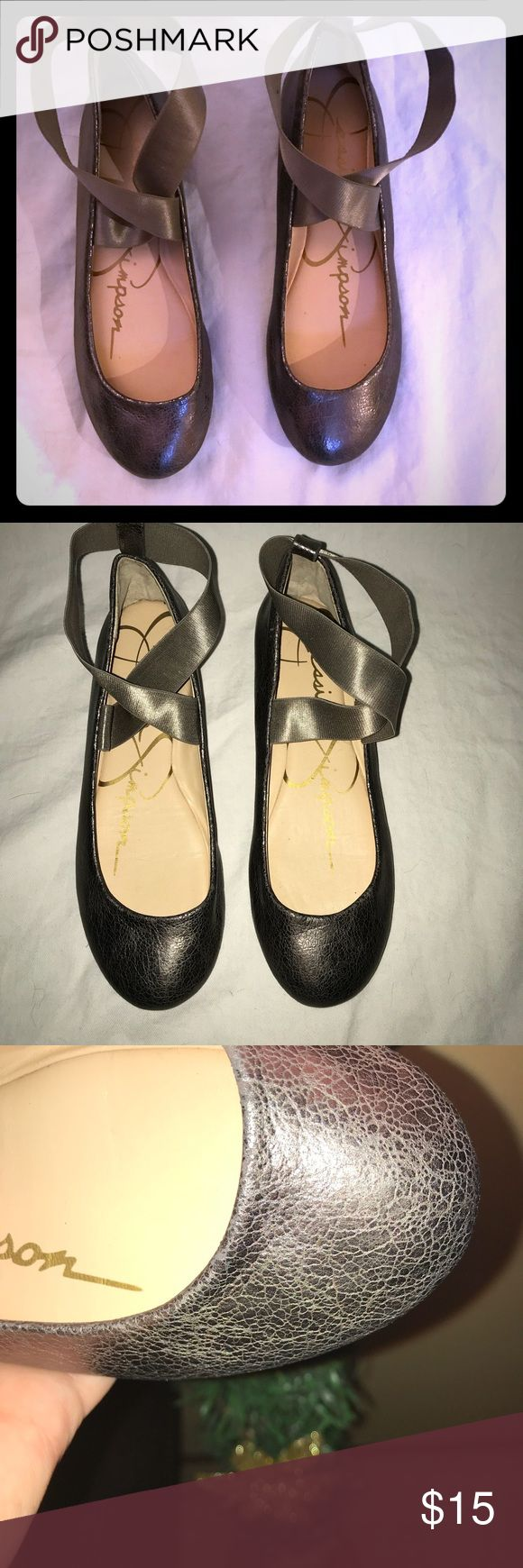 Jessica Simpson ballet flats. 6.5 Jessica Simpson ballet flats. Color is gunmetal. Round toe and elastic ankle straps. Jessica Simpson Shoes Flats & Loafers