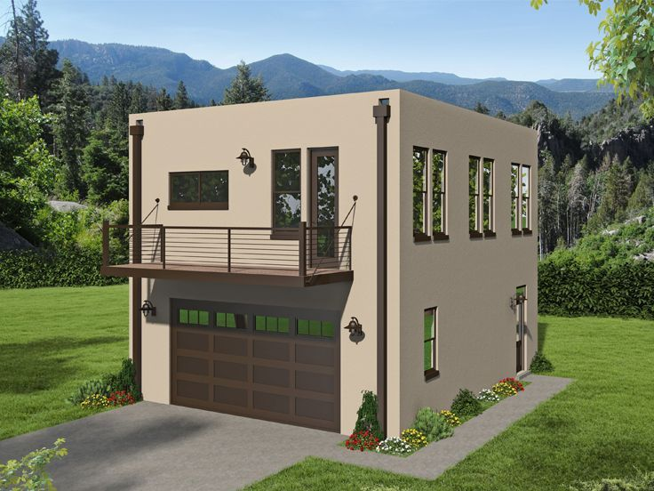 062g 0202 Modern Carriage House Plan In 2020 Carriage House Plans Modern Style House Plans Cottage Plan