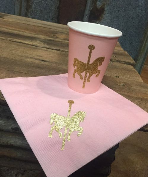 Pink & Gold Glitter Carousel Horse Party Cups and Napkins,Merry-Go-Round Pink and Gold Birthday,Princess Party,Pink and Gold Party Supplies