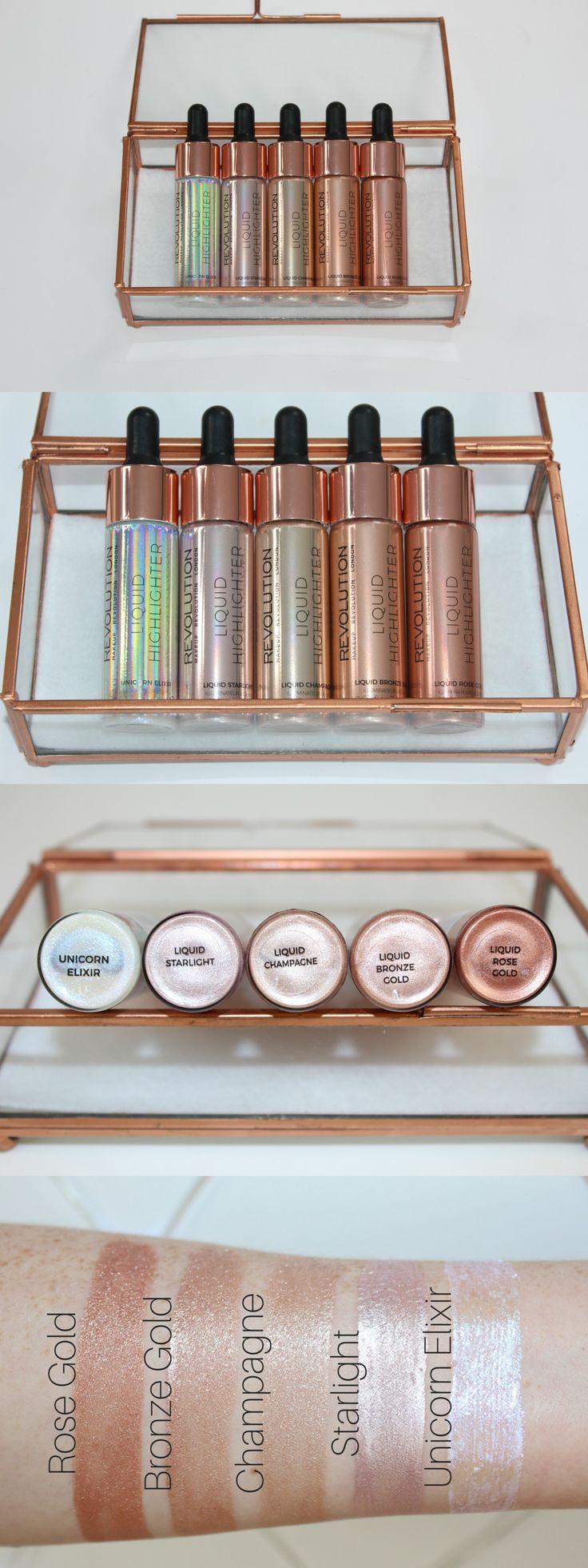 Makeup Revolution Liquid Highlighter Review & Swatches - Cover FX Custom Enhancer Drops Dupes