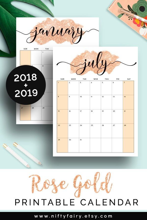 2019 Printable Calendar 2019 Monthly Planner 2019 Desk Calendar