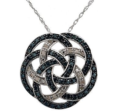 #lovetoshop Large Love Knot Sterling Silver Diamond Pendant with Chain - BLUE