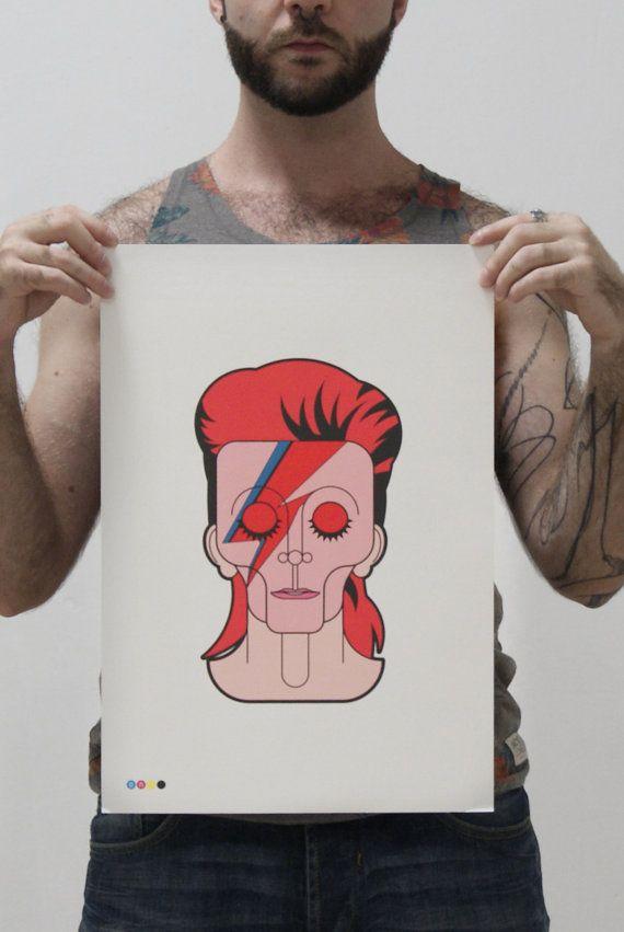 A3 Print (33,5 x 44 cm)  David Bowie (1947-2016)  Prevedo che mi mancherà molto