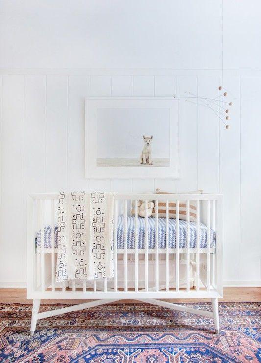 Mid Century French White Crib, Vintage, nursery, Amber Interiors