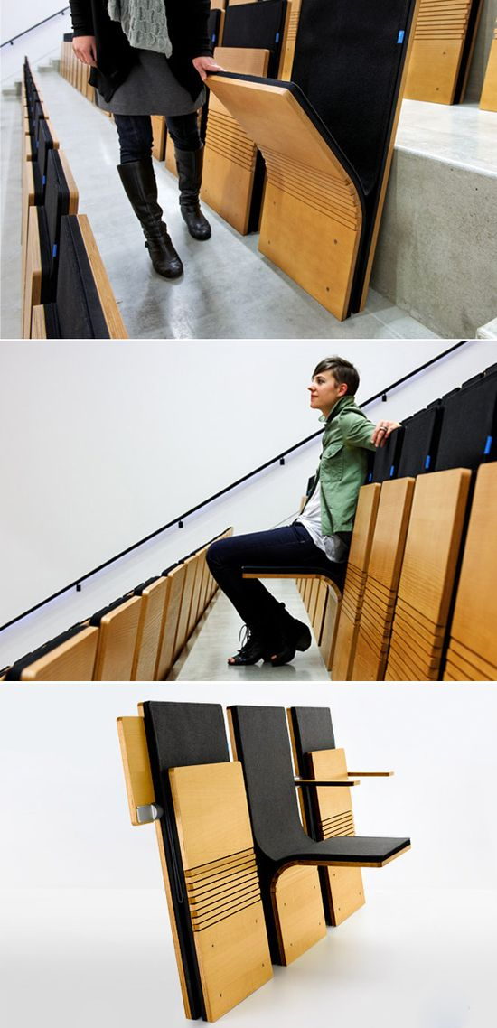 Delicieux Wooden Seat Bench   Very Cool Design For Theater And Classroom Seating.  #eventprofs #