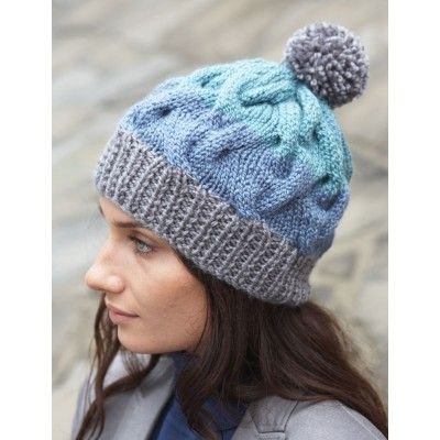 Striped Cable Hat. Size 9 and 10 straight needles ...