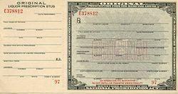 Prohibition - Prescription form for medicinal liquor