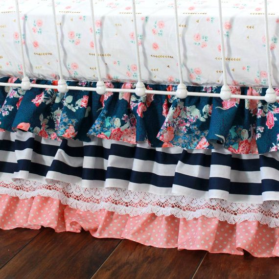 Coral and Navy Baby Girl Bedding Stripe and Floral by LottieDaBaby--my favorite crib skirt so far. Love the lace and dots but not quite the colors I have chosen