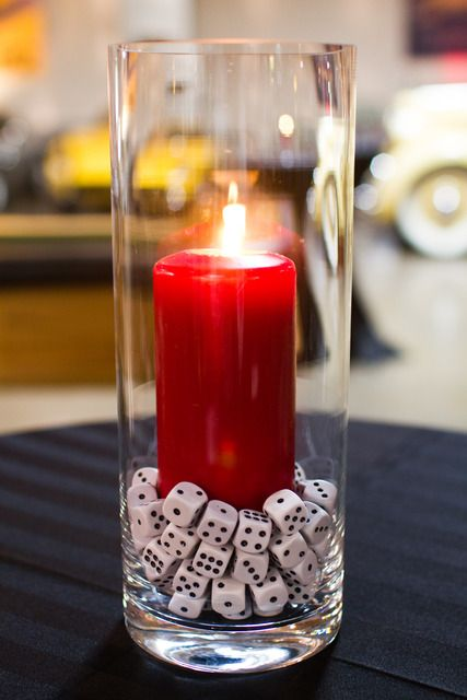Casino Party decor! Get great candles and vases from Old Time Pottery to achieve this look!  http://www.oldtimepottery.com/