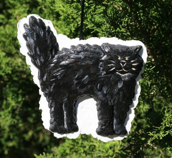 Black Cat Molded Paper Ornament Halloween 6 x 5.5 by ruthsartwork