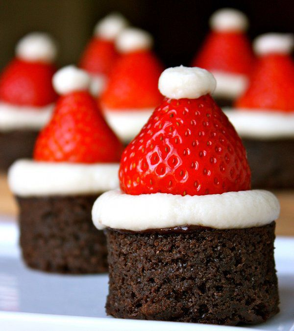 Santa Hats - use the pre-made brownie bites (Costco), buttercream, whole strawberry with top cut off and put a dab of buttercream on top.