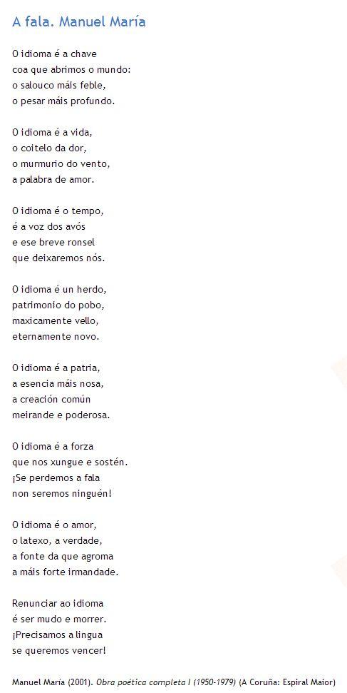 """""""A Fala"""" poema de Manuel María. Lédeo con atención."""