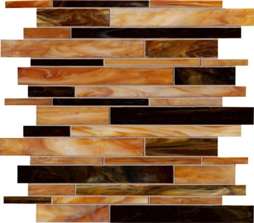 Ragno Ambiance Random Strip Glass Mosaic Floor Or Wall Tile Chocolate Menards