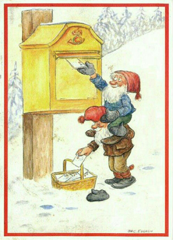 Julkort Jac Edgren 2 tomtar skickar julkort