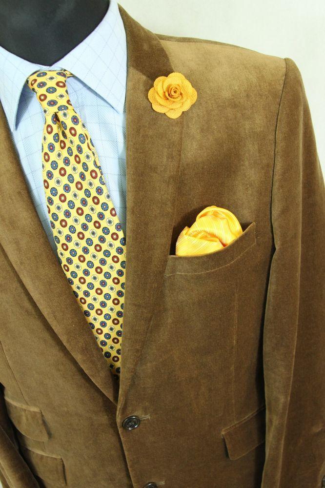 MENS 'SELECTED' BROWN VELVET SHINY JACKET BLAZER sz UK 40 EUR 50  #Selected #Blazers