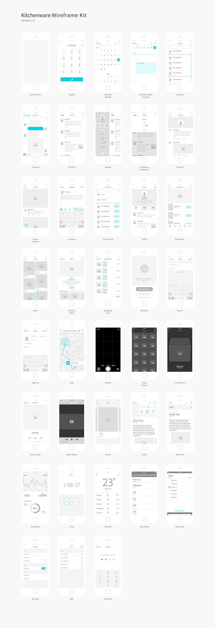 Kitchenware is a wireframe kit provides every elements you need for creating professional and elegant iOS wireframes. Nearly 40 totally different screens covers most common iOS patterns and UI elements.