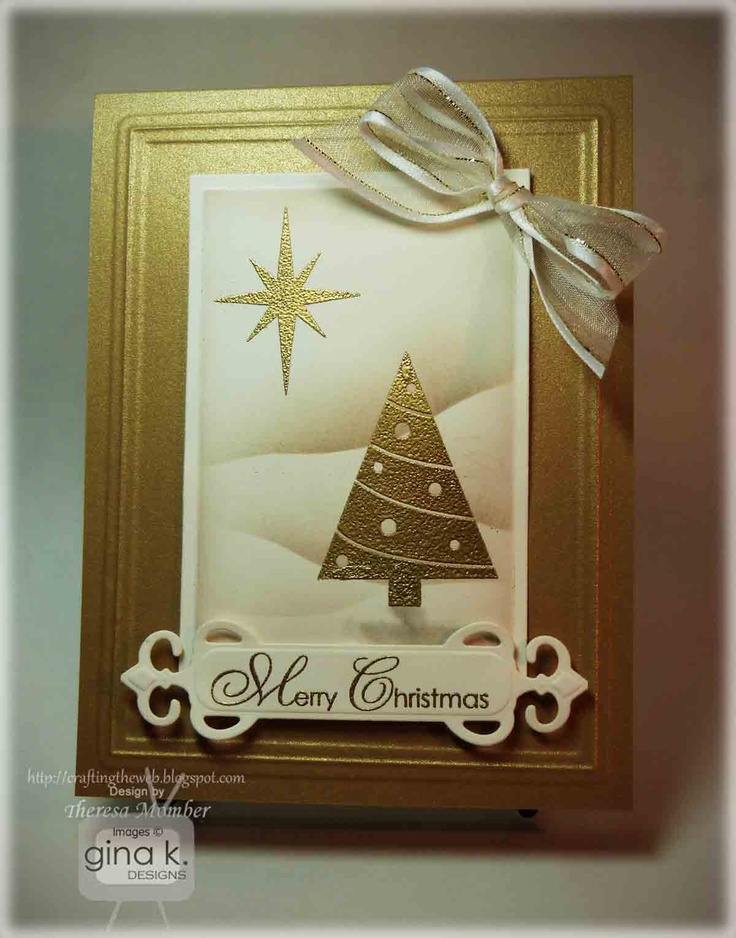 Christmas card in gold and ivory ... luve the debossed framing ... Theresa shows how to make the soft snow drift on her blog ... GinaK stamps ... gorgeous!!