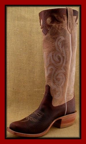 #1654-ANTIQUE BROWN BISON-TAN TOP-BISON-STOVEPIPE-CUTTER TOE-LEATHER SOLE-U-S HEEL-PRICE-$425.00
