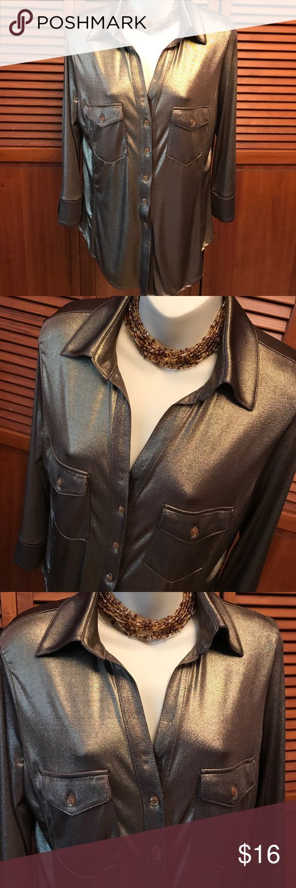INC. International Concepts Bronze Metallic Blouse Slinky and fabulous! Gorgeous bronze metallic top goes easily from rock concert to fancy dining. Dress it up or dress it down! INC International Concepts Tops Blouses