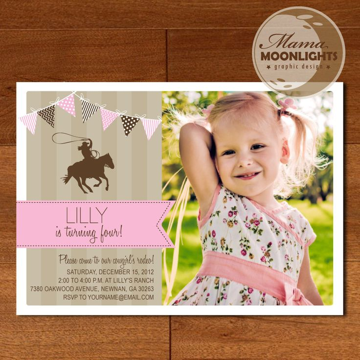 Birthday Party Invitation Digital Printable 5x7 Cowgirl Cow Girl Rodeo Photo Card ( Tan / Khaki, Pink, Brown). $12.00, via Etsy.