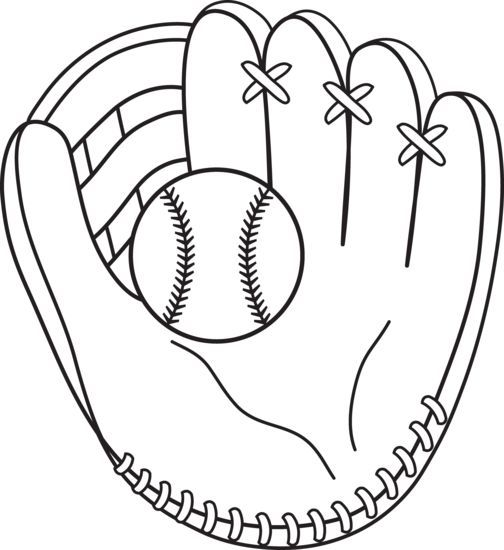Baseball Mitt Coloring Page to use with