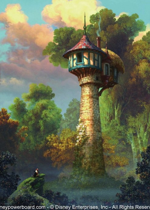 """Tangled Concept Art - this makes me happy because every time i watch tangled, it bothers me how much the architecture of the tower varies from the outside """"small circular """" look to the inside, small square cottage."""