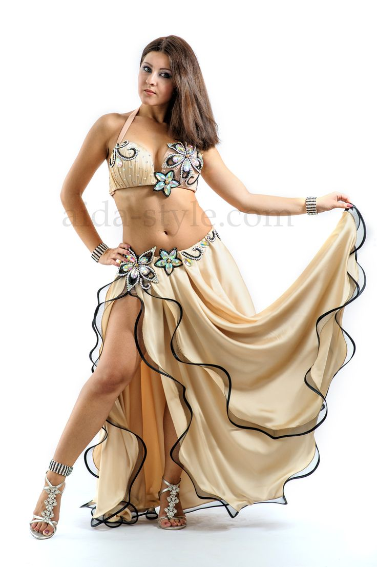 Professional belly dance costume for sale in creamy color