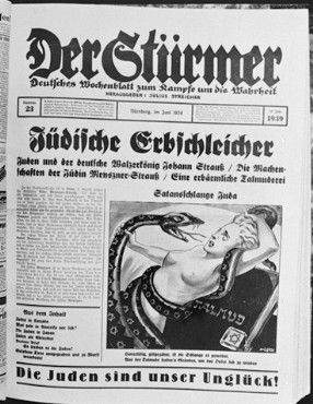 """German womanhood about to be destroyed by a snake marked with Jewish stars. An example of anti-semitism from Julius Streicher's newspaper, """"Der Stürmer,"""" Credit line: National Archives, courtesy of USHMM Photo Archives."""