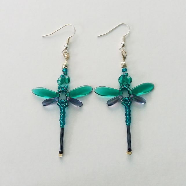 Beaded Dragonflies Earrings – Teal or Aqua and Purple £10.00