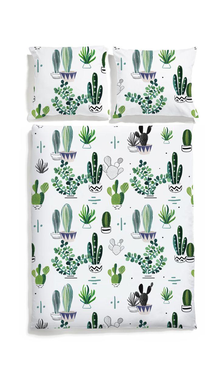 Cacti bed linen -White pocket