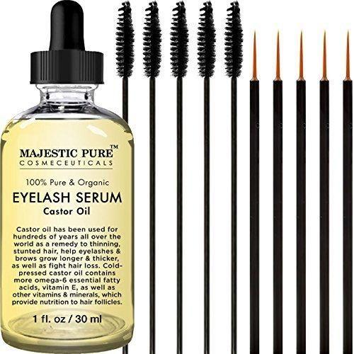 Majestic Pure Castor Oil for Eyelashes Growth Serum Pure and Organic Promotes Natural Eyebrows & Eyelash Growth 1 fl oz - Free Set of Mascara Brush and Eyeliner Applicator