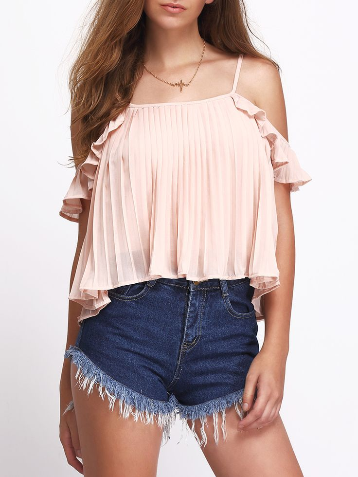 Pink+Cold+Shoulder+Ruched+Chiffon+Blouse+14.99