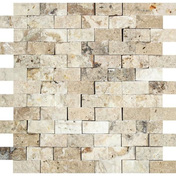 1 X 2 Philadelphia Travertine Split Faced Brick Mosaic Tile Travertine Travertine Tiles Kitchen Brick Texture