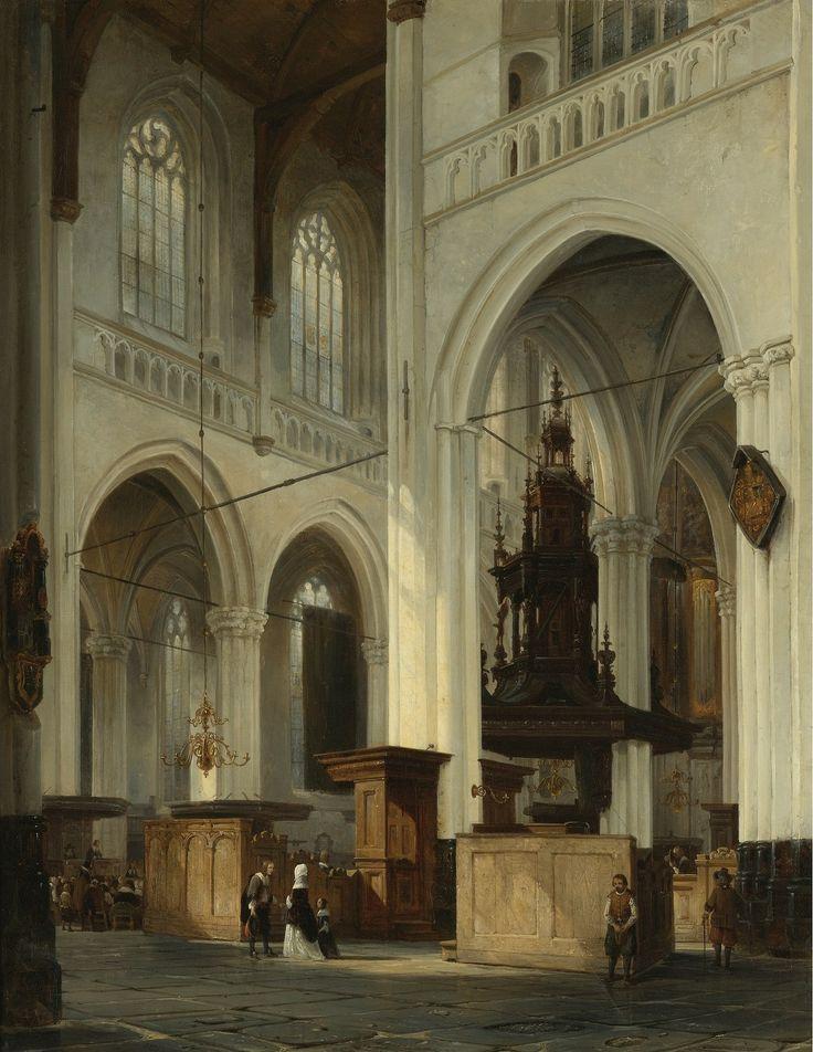 Cornelis Springer (Dutch,1817-1891) The New Church (Nieuwe Kerk) - Amsterdam. Oil on canvas 79 x 62. 1842.