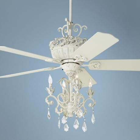 52 Quot Casa Chic Rubbed White Chandelier Ceiling Fan More