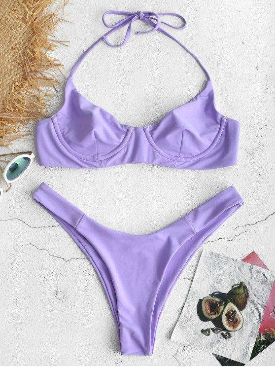 8fa1733834d0 ZAFUL Tie Halter Underwire Bikini Set - Mauve L ,swimwear DIY ...