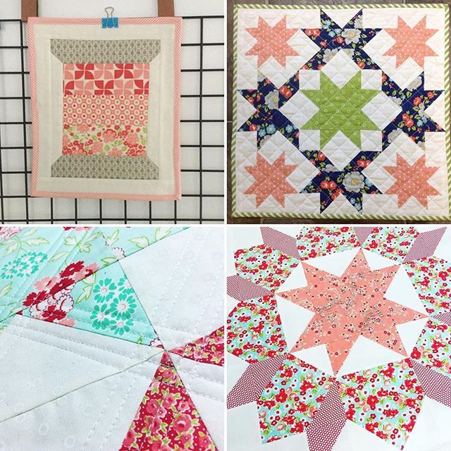 Aren't these mini quilts just the sweetest?! Makers are tagged. I'm loving all the pretties that are popping up in the #aussieminiquiltswap feed, and next week it's time to post! I can't wait to see all the full reveals, though it reminds me that I better finish the quilting on my own mini! 😜 • #bonnieandcamille #showmethemoda #miniquilt #barnquilt #barnquiltswap #minquiltswap #thimbleblossoms #handmade #patchwork #patchworkquilt #patchworkfabric