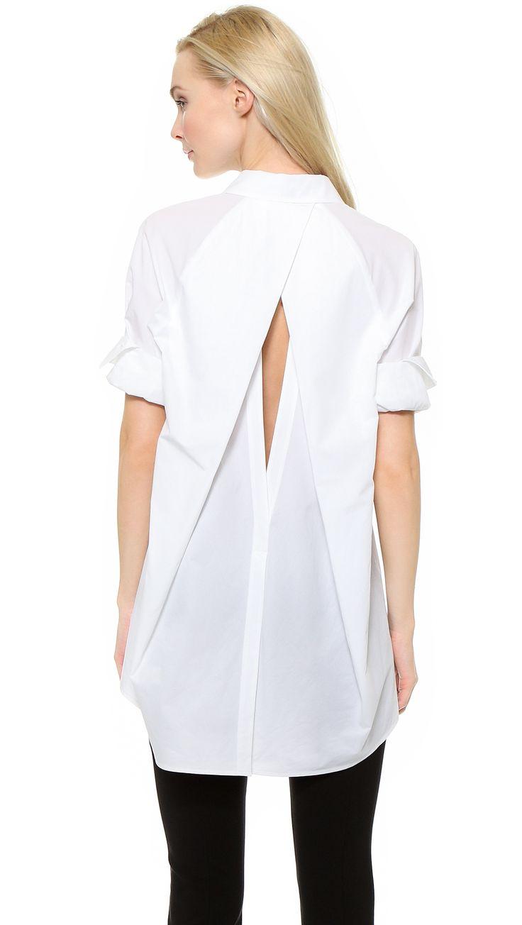 Donna Karan New York Open Back Boyfriend Shirt