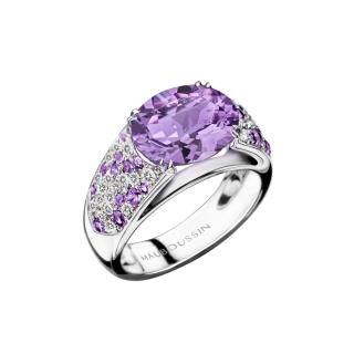 Plaisir d'Amour Ring  Plaisir d'Amour ring, 18Kt white gold, Amethyst (3,1ct), amethysts and diamond pavé